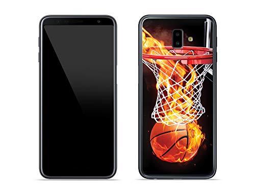 etuo Handyhülle für Samsung Galaxy J6 Plus - Hülle Foto Case - Zeit für Basketball - Handyhülle Schutzhülle Etui Case Cover Tasche für Handy