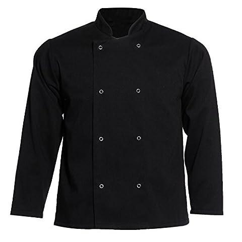 Chef Coat Jacket Chefs Chefwear Catering Uniform Unisex Long Sleeve Pocket Restaurant Kitchen Clothing Workwear Top (S,