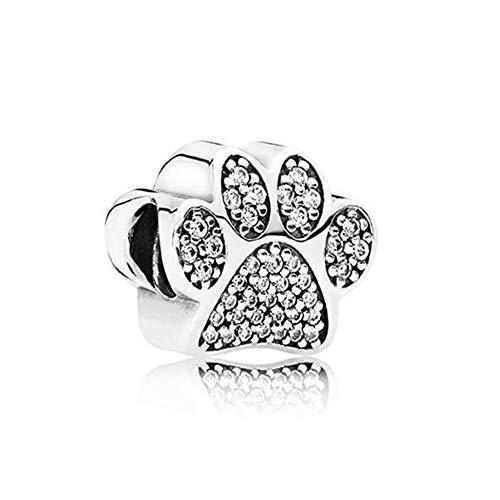 Romántico Charm-Anhänger Amor Hund Pfotenabdrücke 925 Sterlingsilber Tier-Perlen für Pandora-Armbänder (Pandora Perlen Oma)