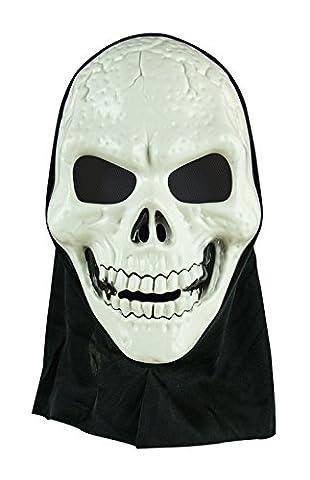 P'TIT CLOWN - 30131 - Masque Adulte Rigide avec Cagoule - Tête de Mort - Taille Unique