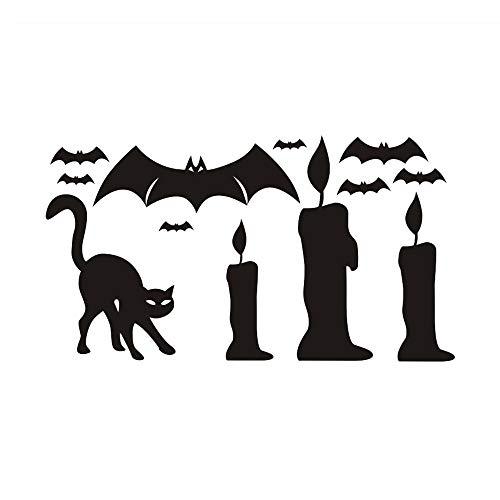 Prevently Halloween Wandtattoo,Schläger Kerze Schwarze Katze Aufkleber Home Dekorationen für Wände, Fenster, Schränke, Türen Etc auf Bogen Wandaufkleber