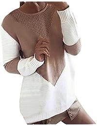 SANFASHION Soldes Sweat Femme,Tops Haut Sport Casual Manche Longue Patchwork Rayure Pull Chic Blouse Sweatshirt Mode