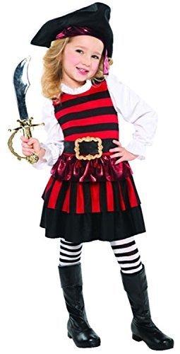 (Fancy Me Mädchen 3-tlg. Kleiner Piraten Kleid Hut Strumpfhose Welttag des Buches Halloween Kostüm Kleid Outfit 3-6yrs - Schwarz/Rot, 3-4 years)