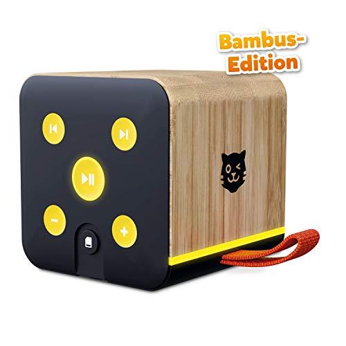 Lenco Tigerbox schwarz Bambus Edition, Bluetooth-Lautsprecher für Kinder, SD-Karten-Slot, Bambus-Gehäuse, inkl. 4 Wochen Premium-Zugang zu tigertones
