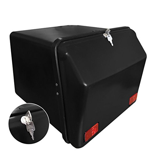 Portaequipajes Moto baúl Reparto Negro/Negro con Reflectantes homologados, Cierre Cerradura