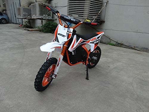 Mini moto eléctrica para niños con bateria de 24V 12AH, motor de 350W. Mini pitbike de cross eléctrica para niños. (NARANJA)