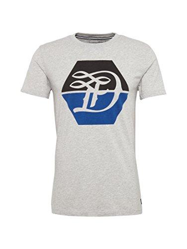 TOM TAILOR Denim Herren T-Shirt Logo D Crew Tee mediterranean grey melange
