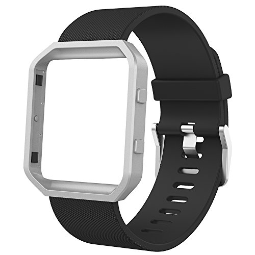Anjoo Kompatibel für Fitbit Blaze Armband mit Metallrahmen, Verstellbares Ersatz Soft Silikon Uhrenarmband fur Fitbit Blaze Smartwatch (Black Band+Silver Frame, Small: 5.5-6.7 Zoll)