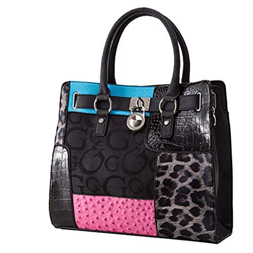 2019 neue Leopard große Tasche Damen Tasche Europa und die Vereinigten Staaten Umhängetasche OL Pendler einfache magnetische Schnalle Tasche (Schwarz, 36 * 14 * 32cm) - Gucci Medium Umhängetasche