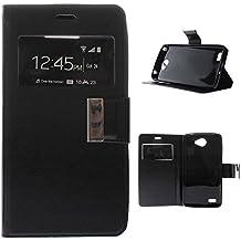 BeBook - Funda carcasa tipo Libro con función soporte para LG X150 Bello 2 Ventana Negra