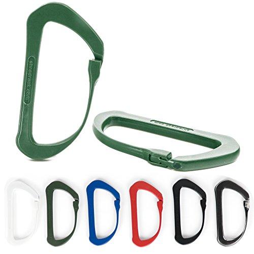ShredRack Karabiner Leicht aus Carbon und Kunststoff - mit Klickverschluss Einhand zu bedienen als Materialhaken für Expeditionen und Outdoor Sport (grün 4er Set)