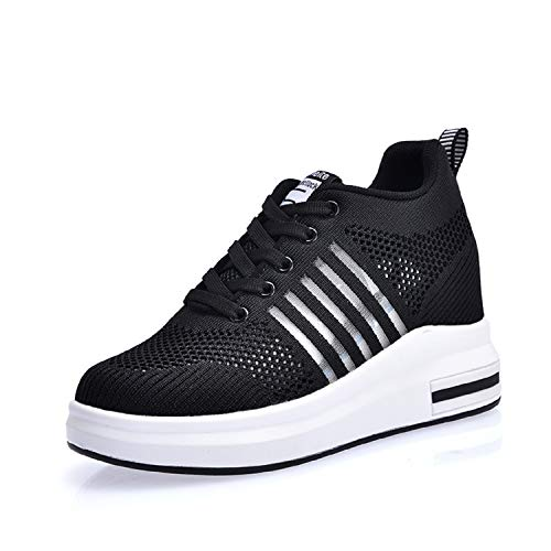 Aonegold® sneakers donna zeppa interna scarpe da ginnastica basse sportive fitness sneakers respirabile mesh 7.5cm(nero,36 eu)