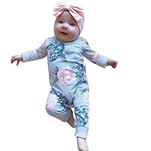 catmoew Mädchen Sets (0-24M) Kleidung Baby Kind Lange Ärmel Mädchen Kleidung Blumig Tasche Strampler Große Blume Kletteranzug Onesies + Haarband Zweiteiliges Set