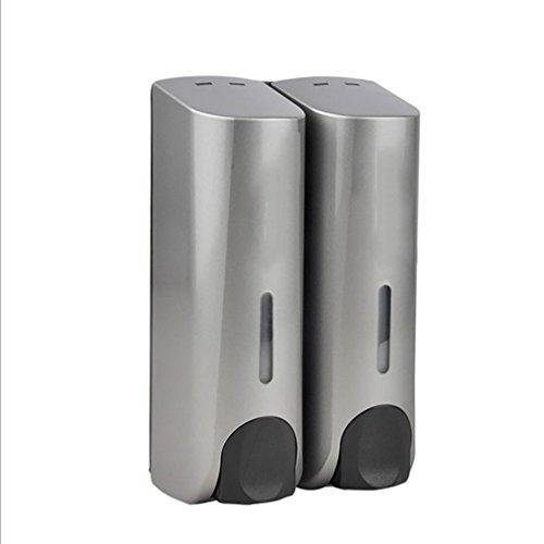 LL-Doppel-Seifen-Maschine Wand-Spender Küche WC-Shampoo-Konditionierung Flüssig-Seifen-Maschine , silver