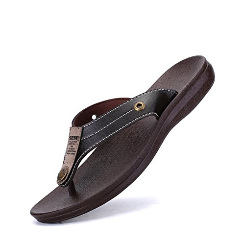 VOLLSGEAT Men's Leather Flip Flops Fashion Casual Beach Sandals Indoor & Outdoor...