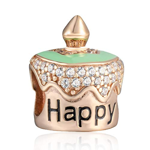Soulbead happy b-day torta di compleanno con zirconi in argento sterling 925rose gold charms beads regalo dei bambini