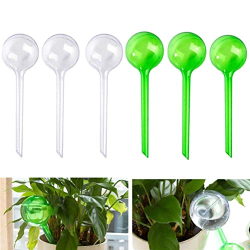 EUYOUZI 6 Pcs Garden Watering Globes Automatic Watering Globes Plant Self Watering Bulb Waterer Automatic Watering System (White&Green) -
