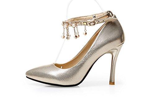 VogueZone009 Femme Stylet Couleur Unie Boucle Fermeture D'Orteil Pointu Chaussures Légeres Doré