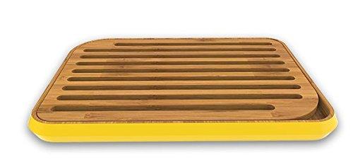 Pebbly NBA024 - Tabla de Cortar Pan, bambú, 25x35 cm, Color Amarillo