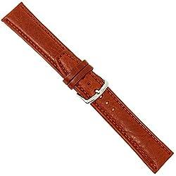 """Uhrbanddealer 18mm Ersatzband Uhrenarmband """"Business"""" Kalb Leder Band hell - Braun matt 155518s"""