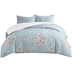 SCM Bettwäsche 230x220cm Blau Blumen 3-teilig Bettbezug & Kissenbezüge 50x75cm Englischen Landhausstil Ideal für Schlafzimmer Humberside