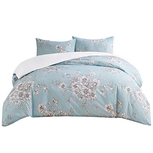 SCM Bettwäsche 200x200cm Blau Blumen 3-teilig Bettbezug & Kissenbezüge 50x75cm Englische