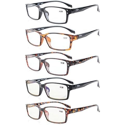 Eyekepper 5-Pack Qualità Primavera-cerniere Classic rettangolari occhiali