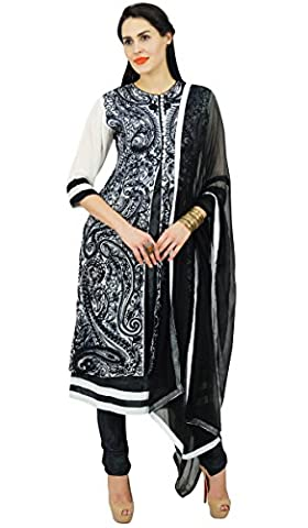 Atasi Womens Black Embroidered Straight Kurti With Dupatta Indian Ethnic Salwaar Suit Custom Dress - Sizes Available