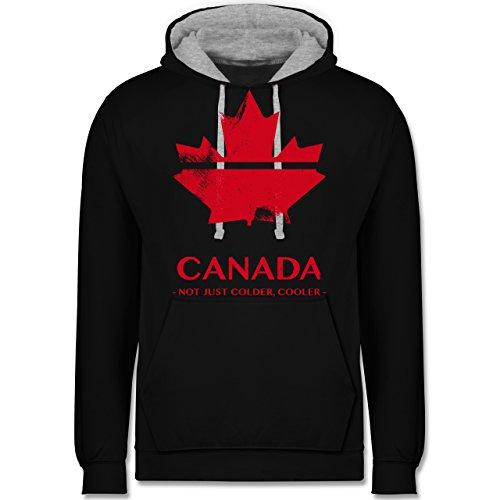 Canada Fur Trade (Länder - Canada Vintage Not just colder cooler - 5XL - Schwarz/Grau meliert - JH003 - Kontrast Hoodie)
