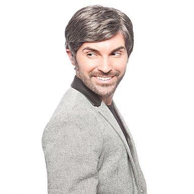 HJL-perruques de haute qualit¨¦ synth¨¦tique courte ligne droite de couleur grise bel homme , grey
