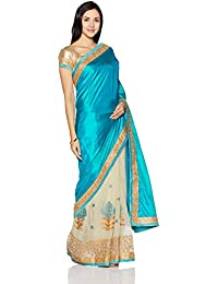 Womanista Women's Embroidered Art Silk Saree With Blouse Piece