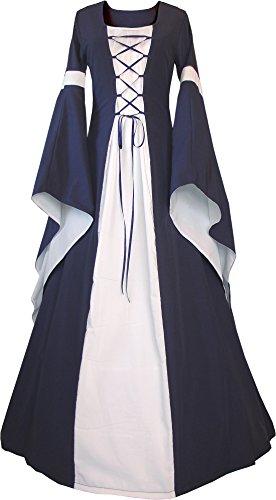 Dornbluth Damen Mittelalter Kleid Johanna Marine (32/34, Marine-Ecru)