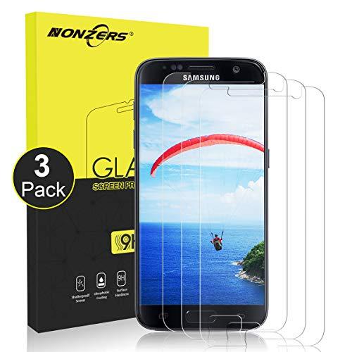 NONZERS Verre Trempé pour Samsung Galaxy S7, [3 Pack] Film de Protection d'Écran en Verre Trempé Transparent, Verre Trempe S7, Dureté 9H, Installation Facile sans Bulles, Vitre Samsung S7