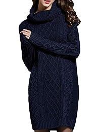 NUTEXROL Mujer Suéter de Cuello Alto Básico, Vestido Largo, Suelto y Esponjoso, Pullover Ropa Invierno,…