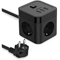 JSVER Cube Multiprise USB 3 Prises avec 3 Ports USB 2.4A Multiprises parafoudre de Voyage avec Interrupteur Cable 1.5m - Noir