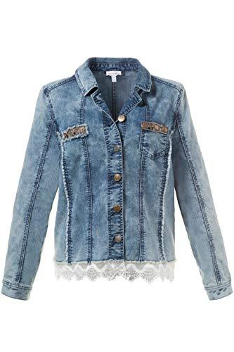Petite Jeans-jacke (GINA LAURA Damen | Jeansjacke | Spitzen-Saum | Größe S-XXXL | Applikationen, Fransenkante | Stretch-Denim | Blue Bleached XXL 712514 92-XXL)