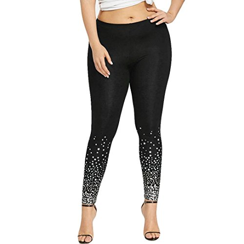 UFACE Damen Größe hohe Taille Star Print Leggings Yoga Sport Casual Hosen Plus Größe Sterne Print Leggings (3XL, Schwarz)