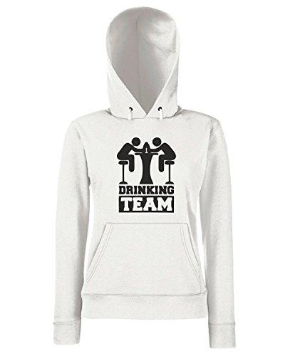 T-Shirtshock - Sweats a capuche Femme BEER0207 Drinking-Team-Magliette (1) Blanc