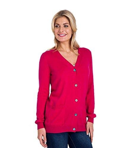 WoolOvers Cardigan à col V - Femme - Cachemire & Coton Cerise