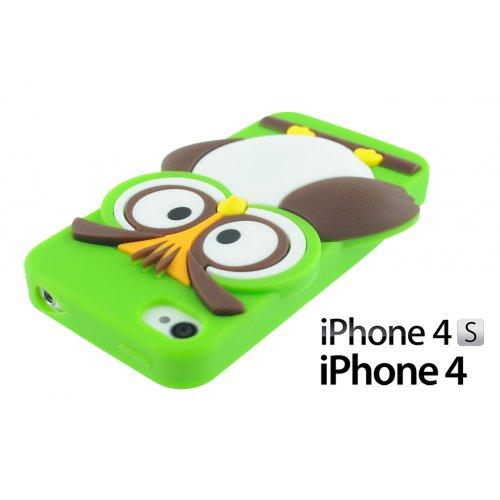 OBiDi - 3D Mince Hibou Coque en Silicone / Housse pour Apple iPhone 4S / Apple iPhone 4 - Hot Pink avec 3 Film de Protection et Stylet Vert