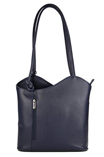 Belli ital. Ledertasche Backpack 2in1 Damen Rucksack Leder Handtasche Schultertasche - Freie Farbwahl - 28x28x8 cm (B x H x T) (Dunkelblau)
