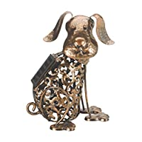 garden mile® Solar Powered Light Up DOG | LED Lights Copper Effect | Metal Garden Animal Sculptures Garden Ornaments Decoration