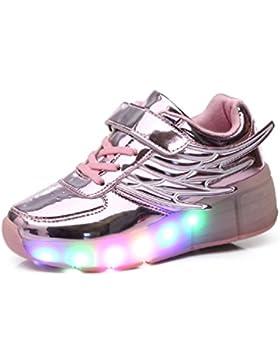Unisex Niños llevó ruedas rodillo skate zapatos Retráctil zapatillas deportivas al aire libre parpadeante intermitentes...