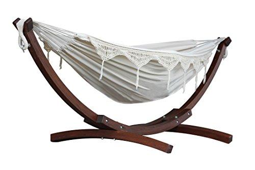 Vivere C8SPCT - Doble algodón hamaca con madera de pino maciza Arc función atril–Natural