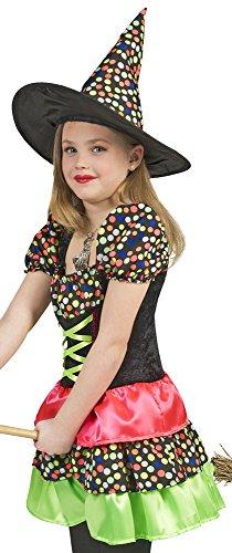 Hexe Wendy Kostüm mit Punkten für Mädchen Gr. 140 (Traum Mädchen Hexe Kostüm)