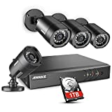 ANNKE 8-Channel Security Camera System 5-in-1 1080P lite Video DVR with 1TB Surveillance Hard Disk Drive and (4) 1280TVL 1.0MP Weatherproof Cameras with IR-cut Night Vision LEDs