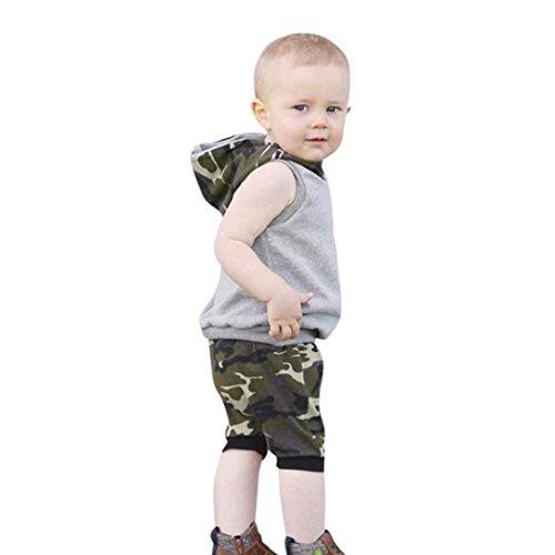 Pure 90 Cap (Neugeborene T-shirt Kleidung Set Babykleidung Junge Mädchen Camouflage Kapuzen Tops + Shorts Kleidung Set Outfits Baby Bekleidungsset Beiläufig Overall Blumen Outfit Set LMMVP (Grau, 90CM (18M)))