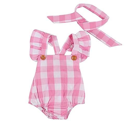 Puseky Newborn Baby Girls Tartan Plaid Romper Bodysuit & Headband Clothes Set (3-6 Months, Pink)