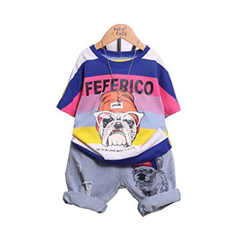 Junge Kostüm Sommer-Set Von Zwei, Kids Baby Jungen Hund Outfits Farbstreifen T Shirt Tops+Jeans 2~11 Jahre (Süße Spiderman Kostüme)