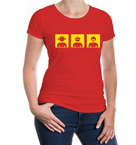 buXsbaum® Girlie T-Shirt Nichts hören, nichts sehen, nichts sprechen Red-Sunflower